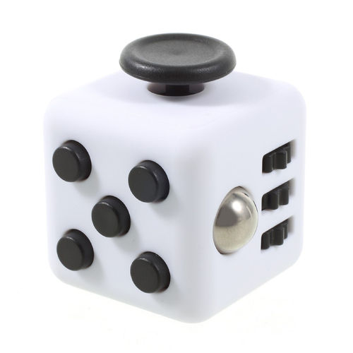 Fidget Cube - Anti-Stress & Anxiety Reliever Play Toy - White / Black